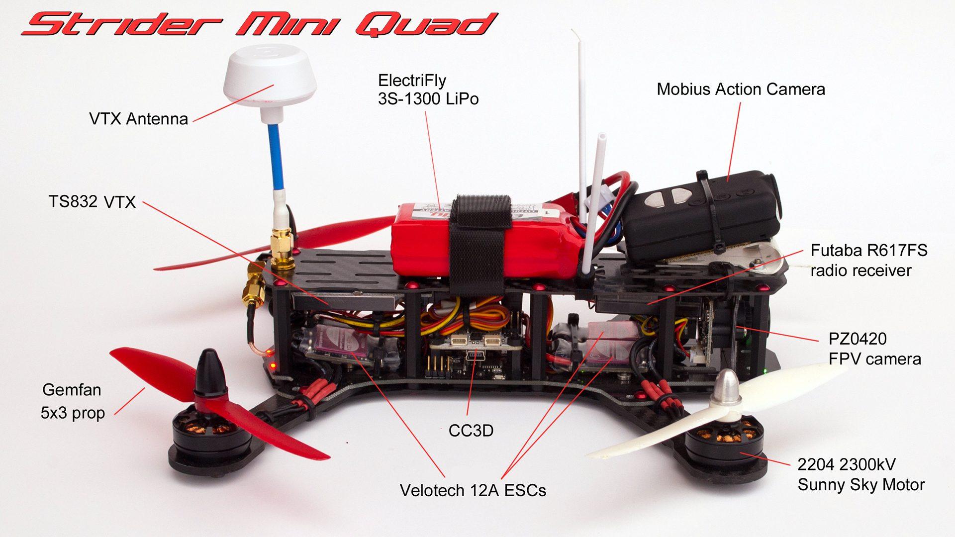 Composants d'un drone de course Quadri-Rotor
