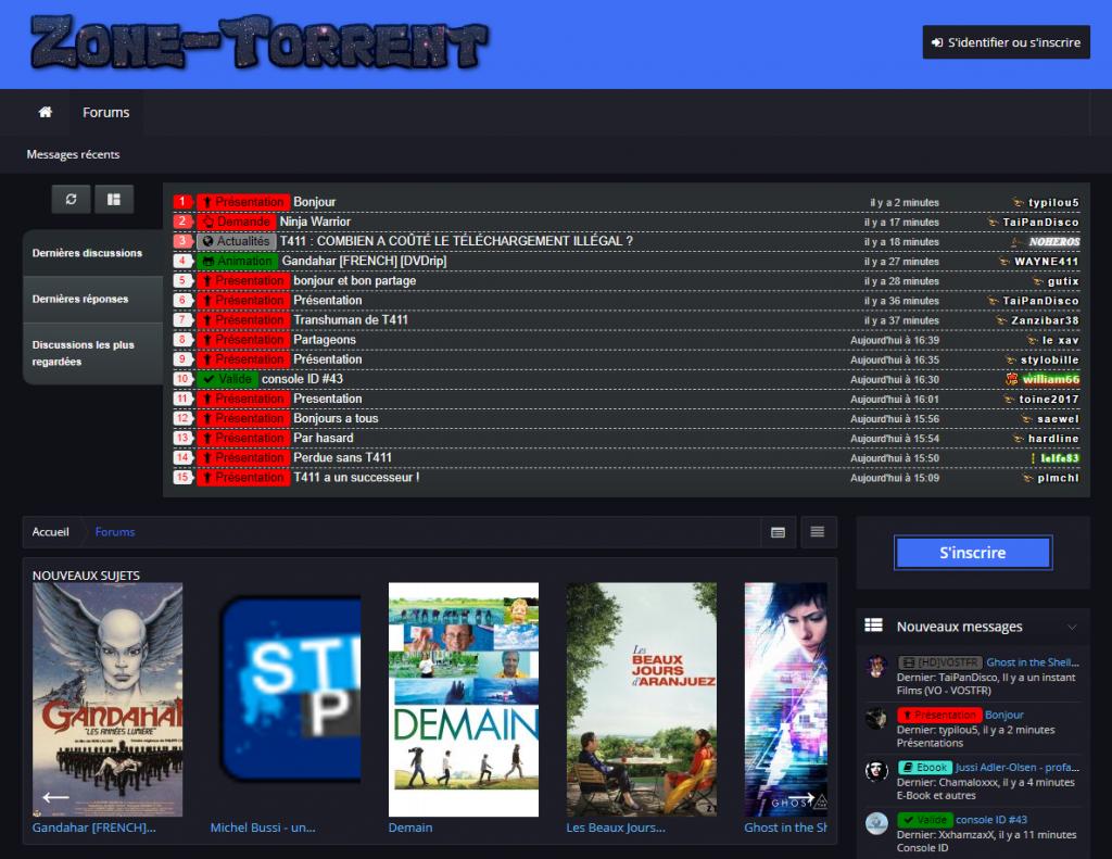 Zone Torrent est le premier site alternatif à T411