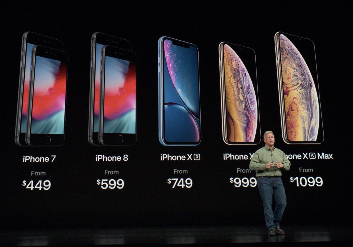 Prix de l'iPhone Xr, Xs et Xs Max.