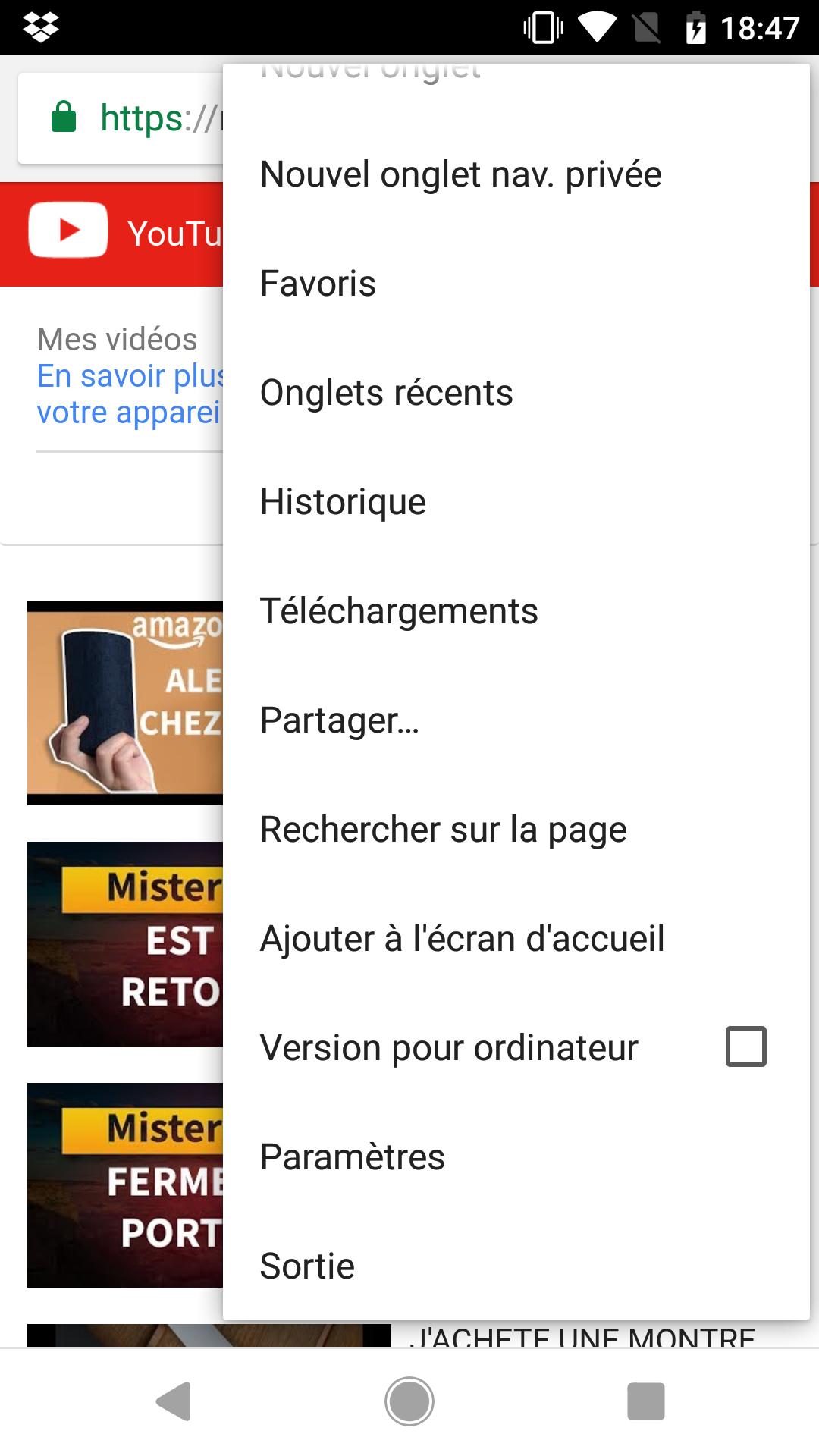 Ouvrir les paramètres Brave sur YouTube