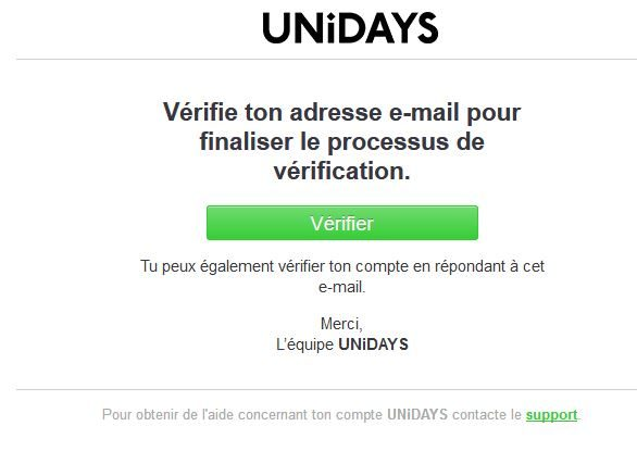 Verification de compte Unidays Apple