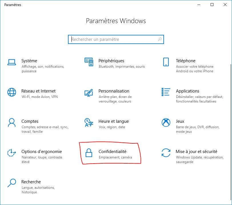 Fenêtre paramètres de Windows 10