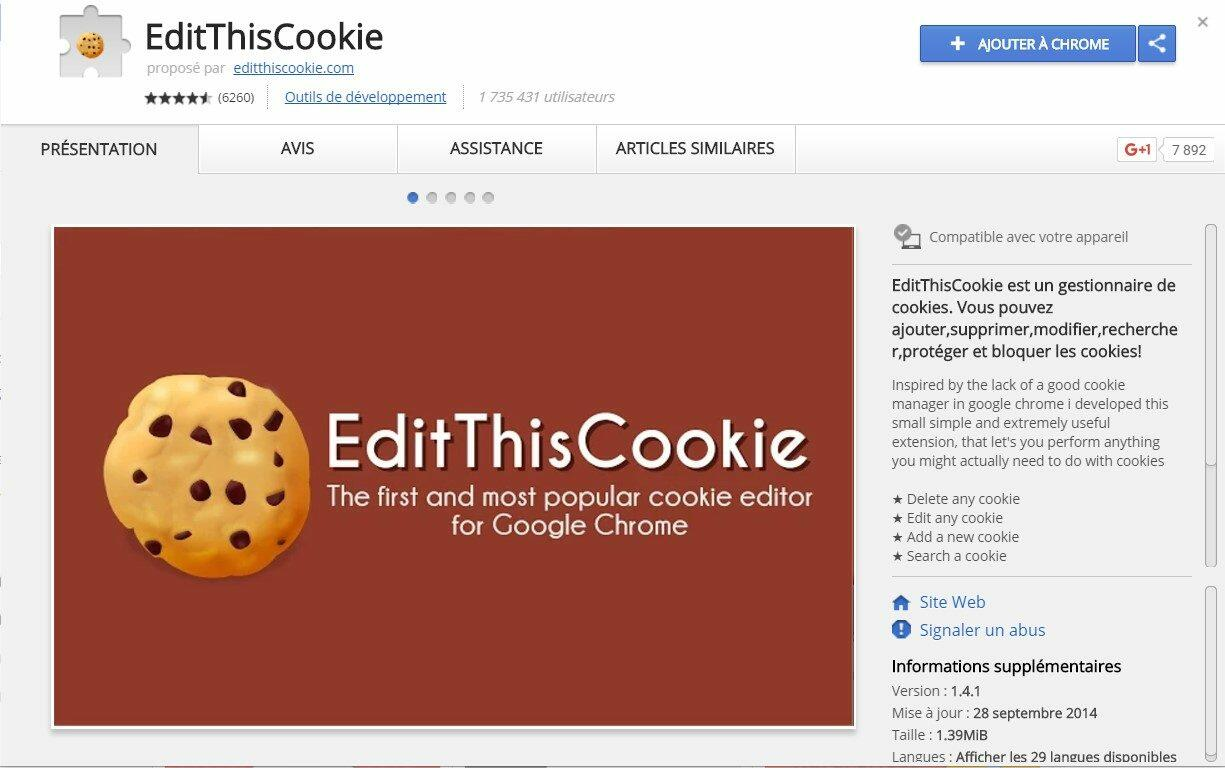 Installation de EditThisCookie pour Chrome