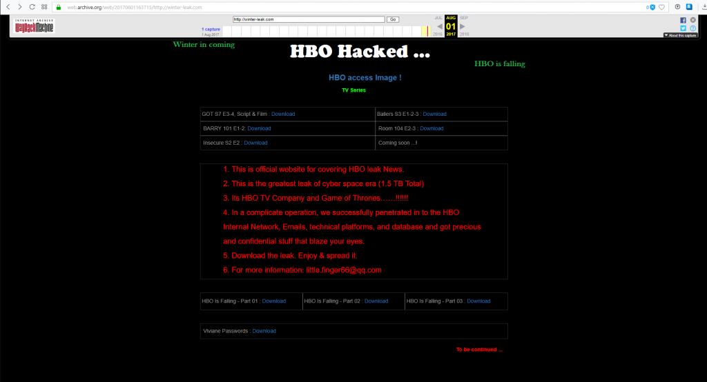 accueil winter leak HBO pirate