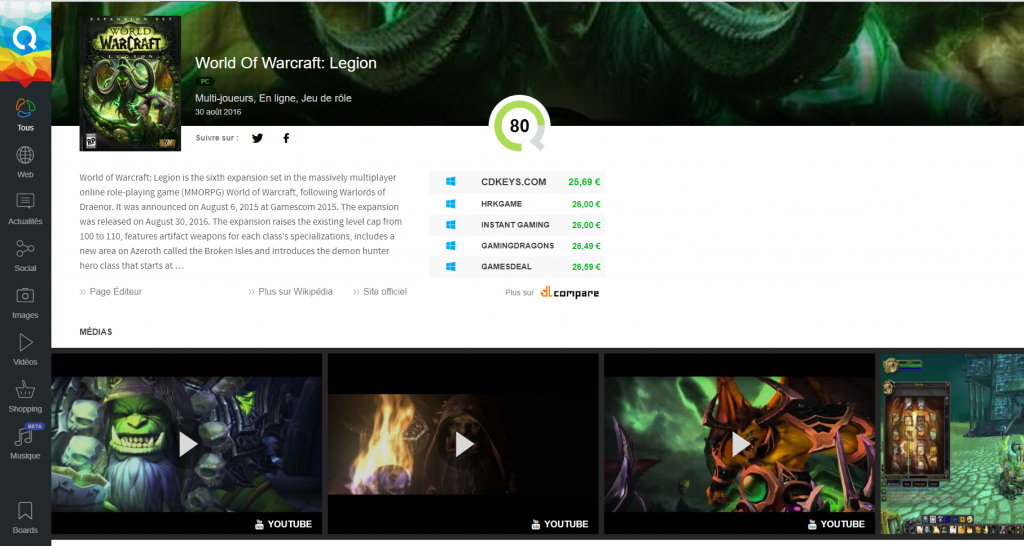 qwant games world of warcraf fiche