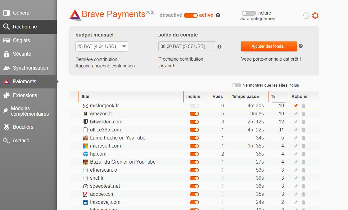 Le navigateur Brave permet de faire des donations mensuelles ou manuelles