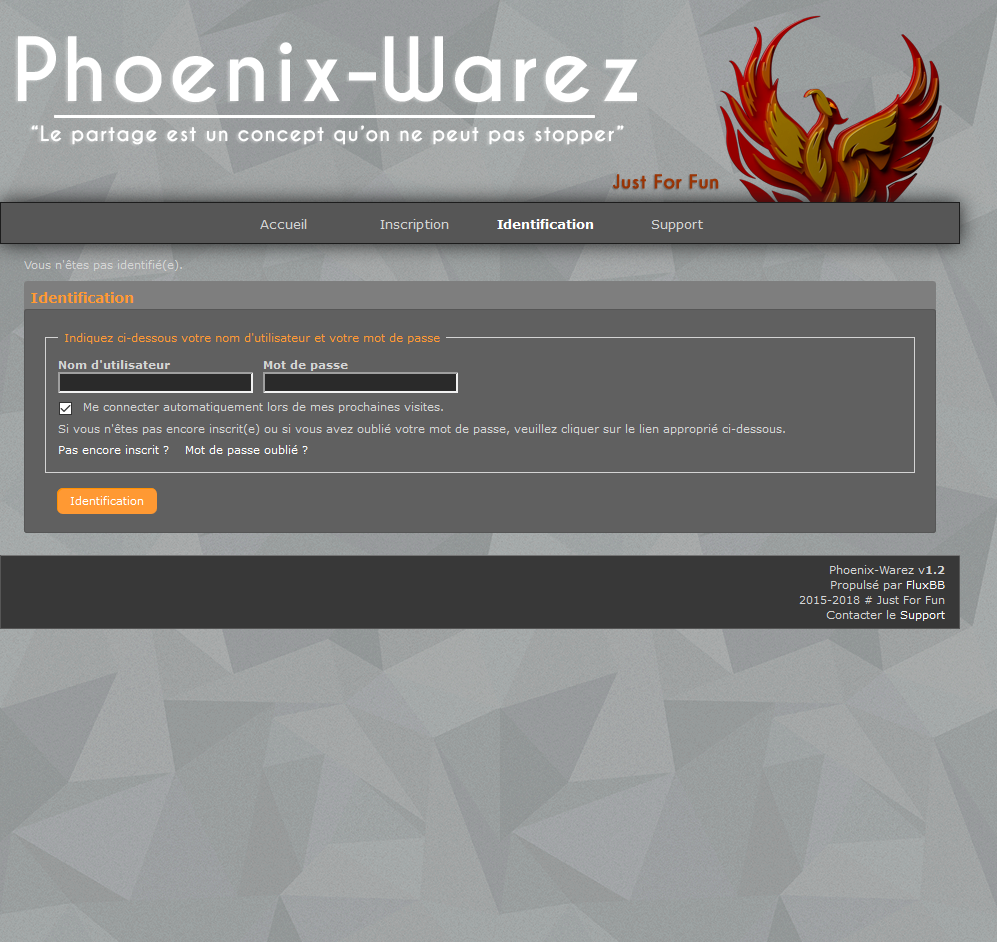 Page d'accueil de Phoenix-Warez.cc