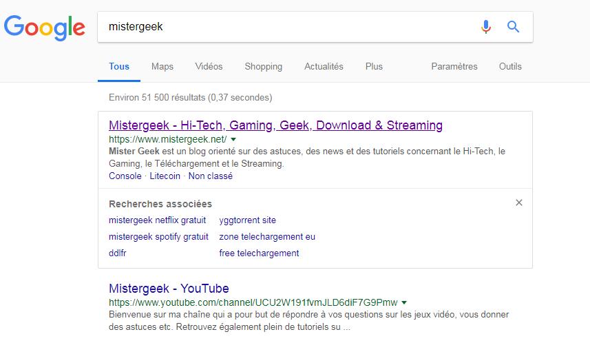 Indexe Google de Mistergeek.net