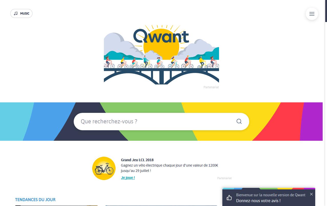 Nouveau design de Qwant