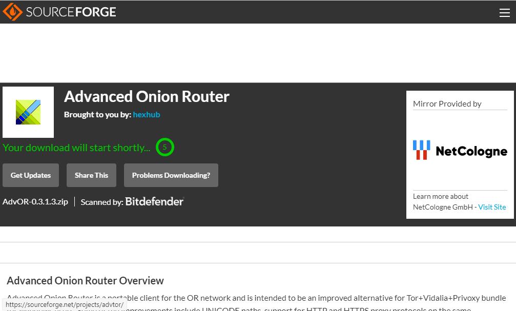 Téléchargement d'AdVOR sur SourceForge