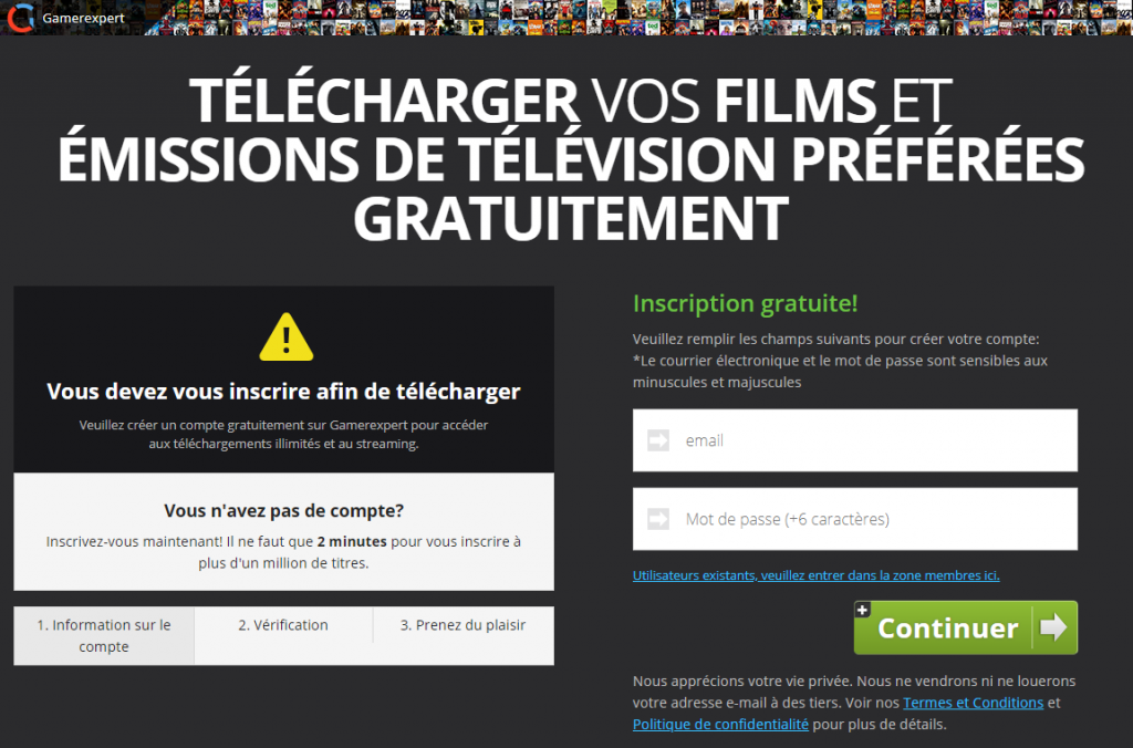 Copie de Torrent9 menant vers un site payant