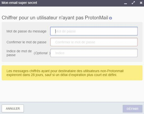 protonmail mot de passe service chiffre