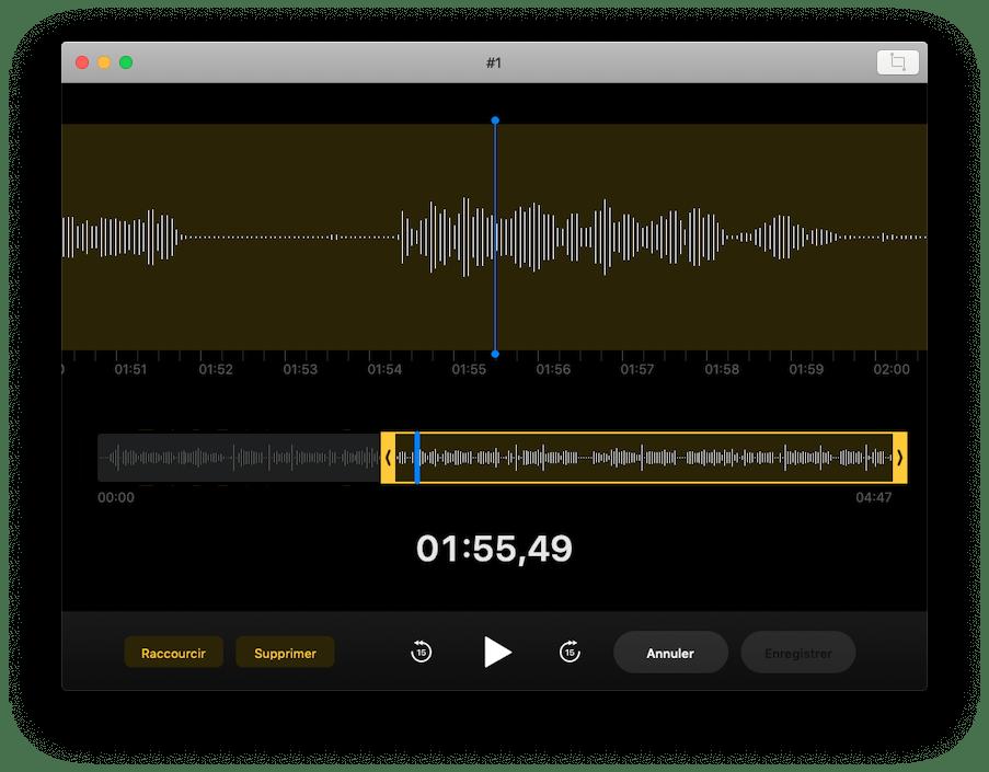 Edition piste audio Dictaphone MacOS