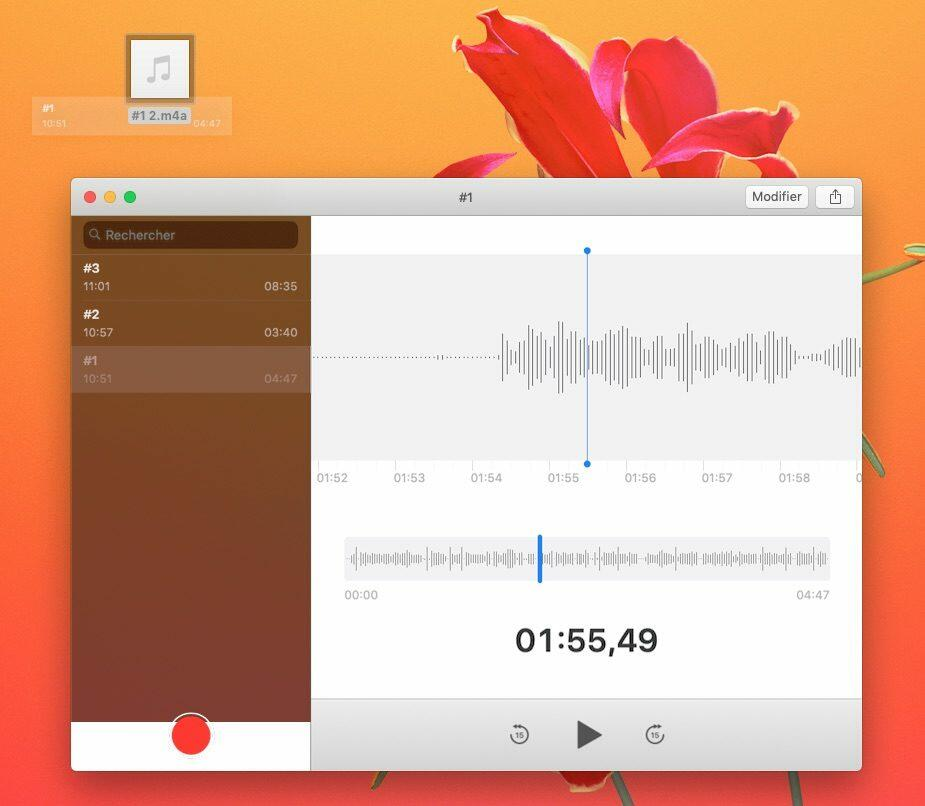Export de fichier sur Dictaphone MacOS