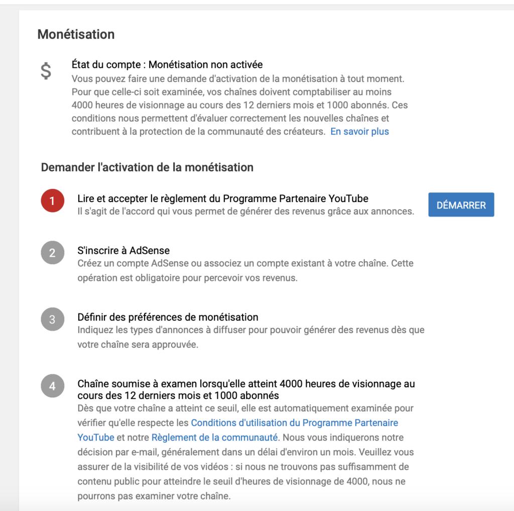 Programme de monétisation YouTube Adsense