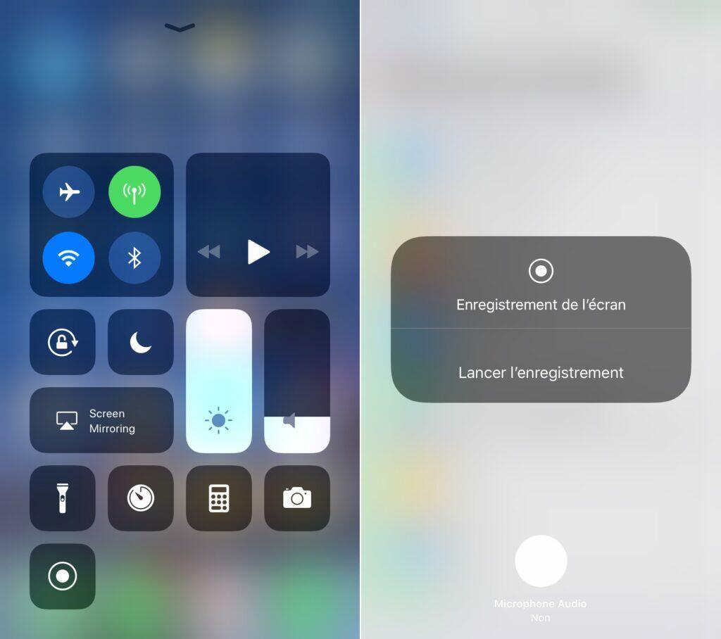 enregistrement ecran ios iphone snapchat centre controle