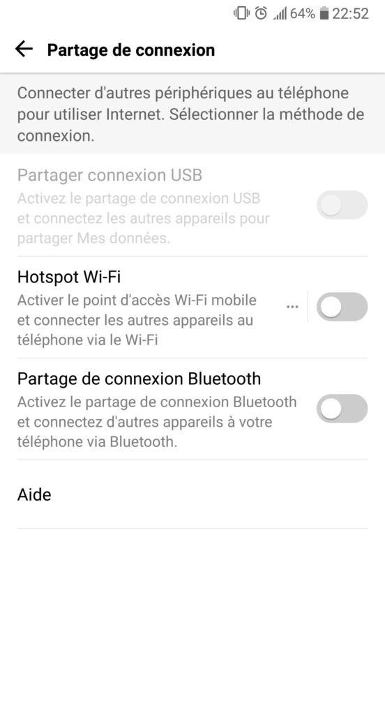 android partage connexion usb wifi bluetooth