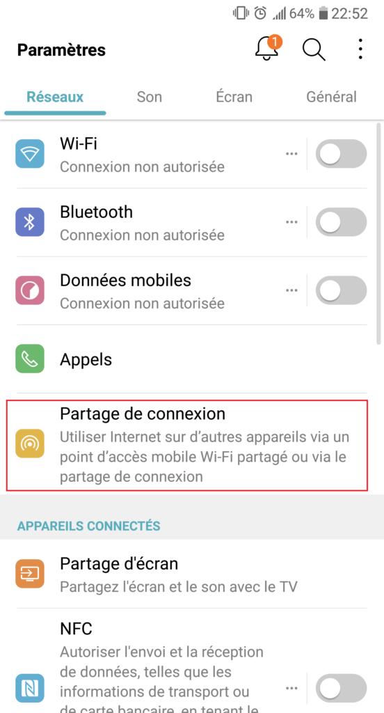 partage de connexion android