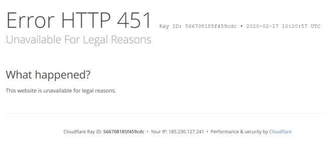 Erreur HTTP 451 de Cloudflare