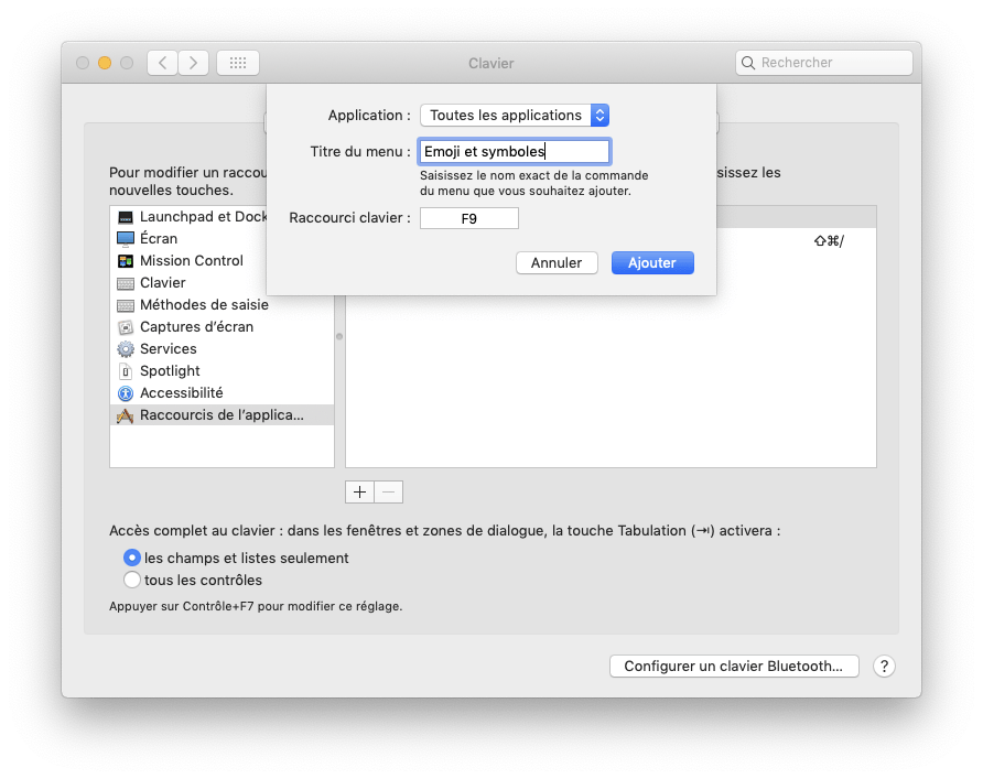 Ajouter un raccourci clavier sur macOS