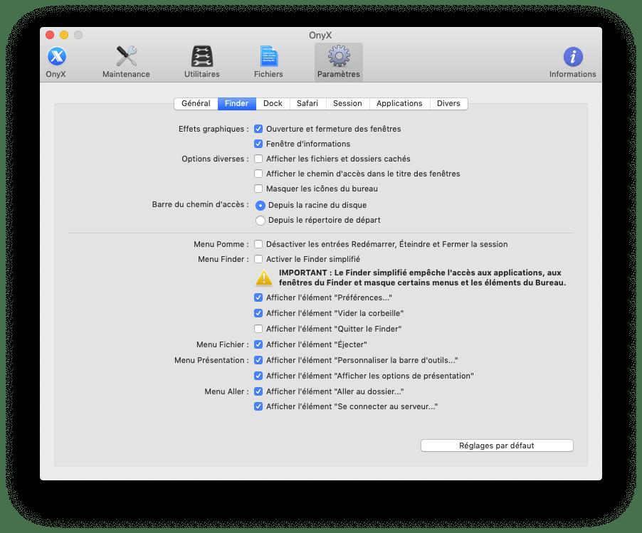 Onyx afficher ou masquer les dossiers cachés sur Mac