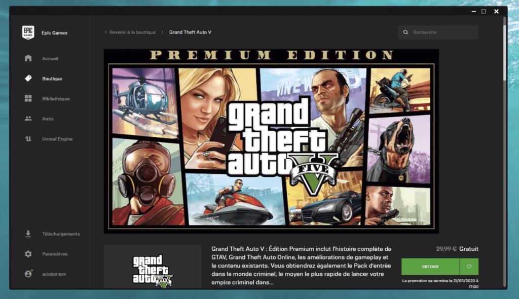 GTA V est gratuit en ce moment sur Epic Games
