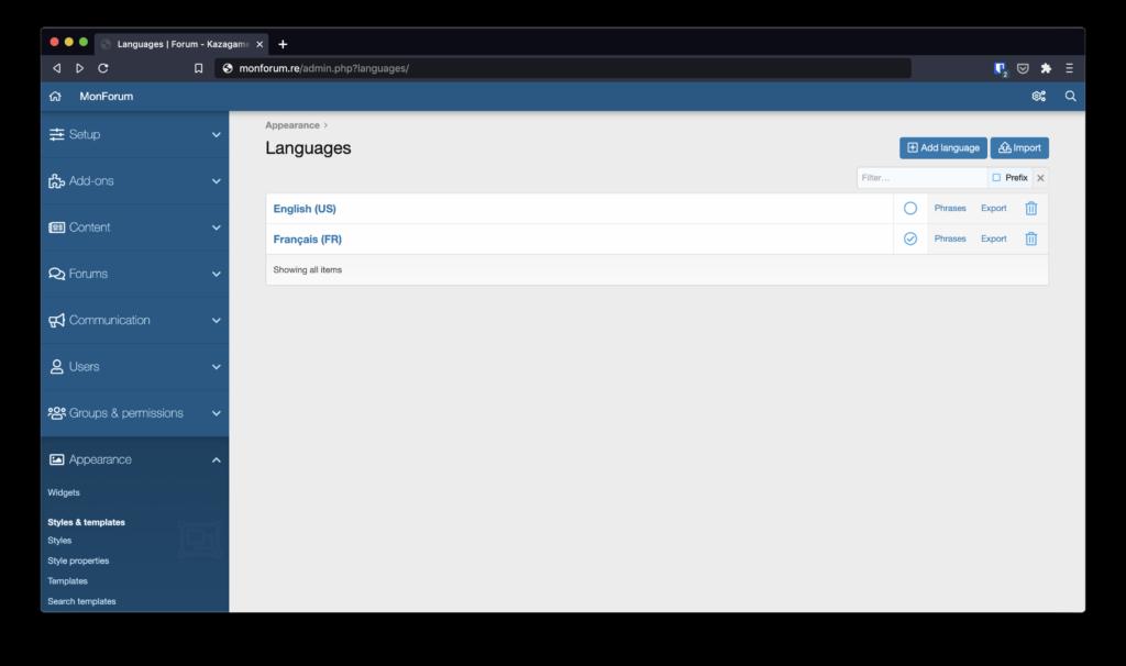 Importation d'une langue sur XenForo