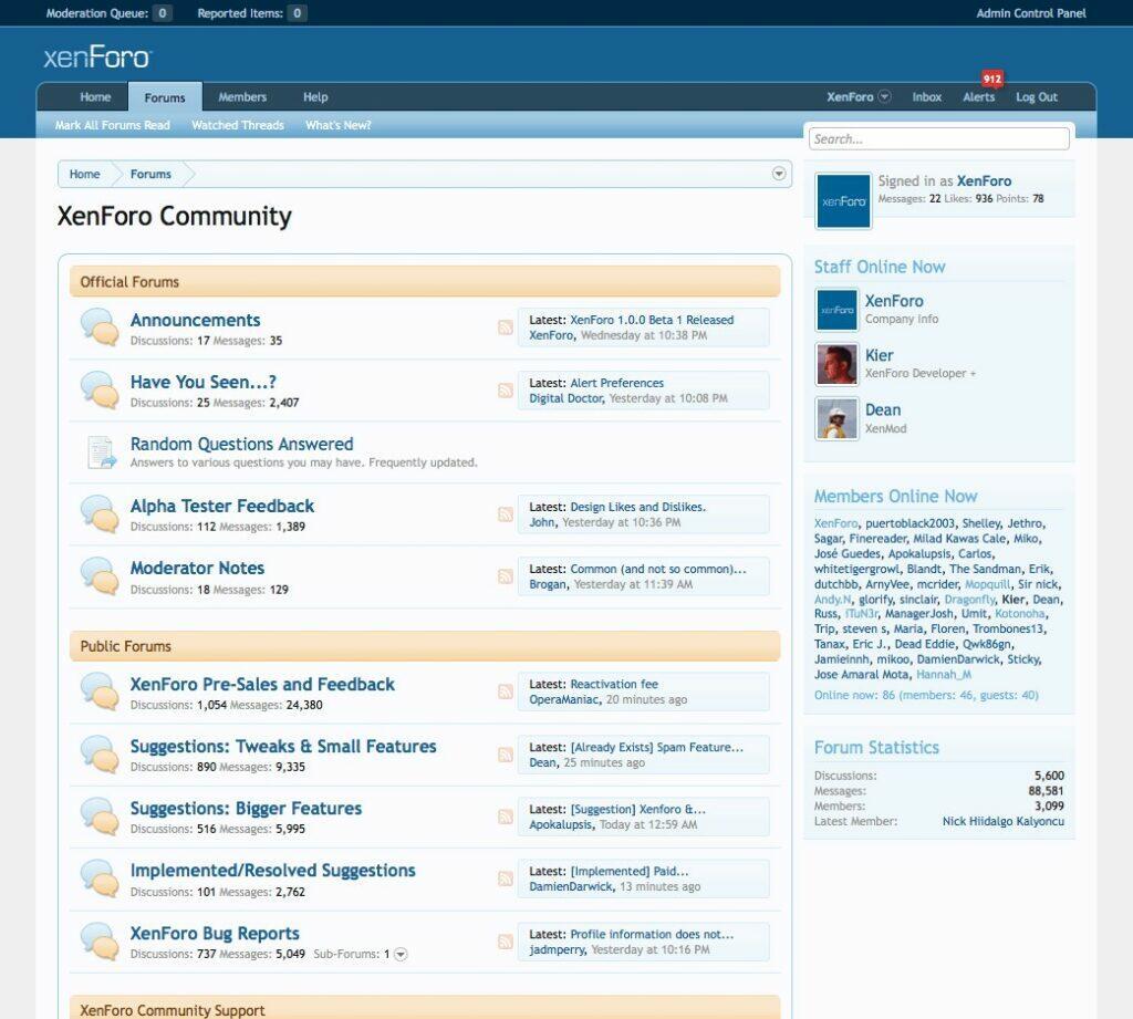 Exemple de forum construit avec le CMS XenForo