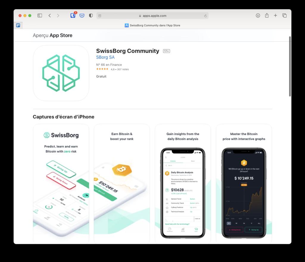 Application Community de Swissborg