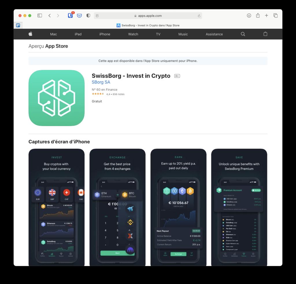 Application Swissborg sur l'App Store d'iOS